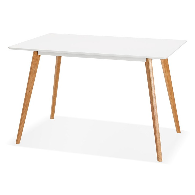 Table à manger design scandinave ou bureau MAYA (120x78x77 cm) (blanc)