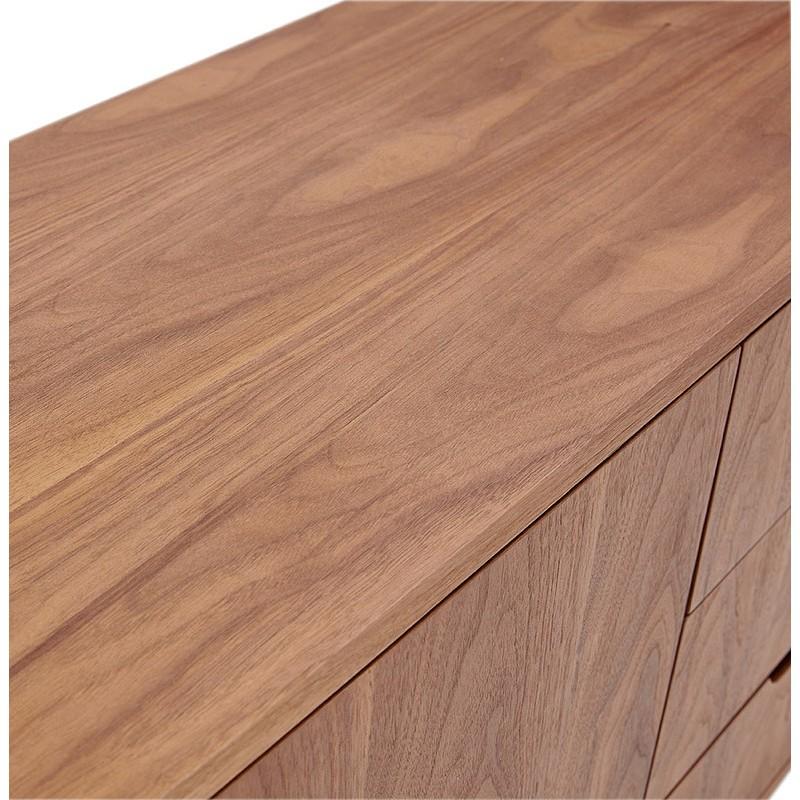 Buffet enfilade design et rétro 2 portes 3 tiroirs MELINA en bois (noyer) - image 40000