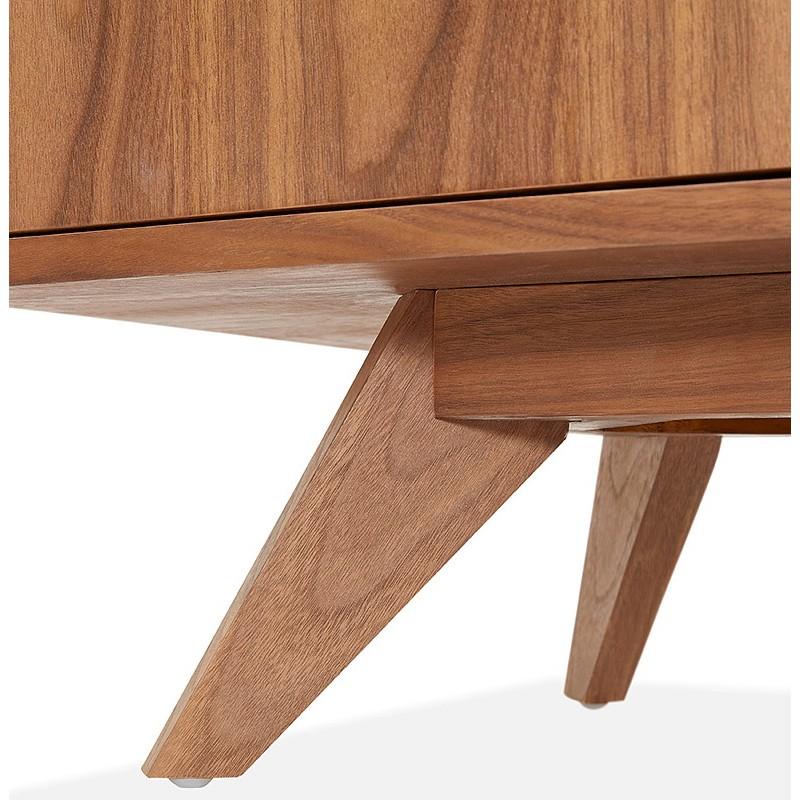 Buffet enfilade design et rétro 2 portes 3 tiroirs MELINA en bois (noyer) - image 40007