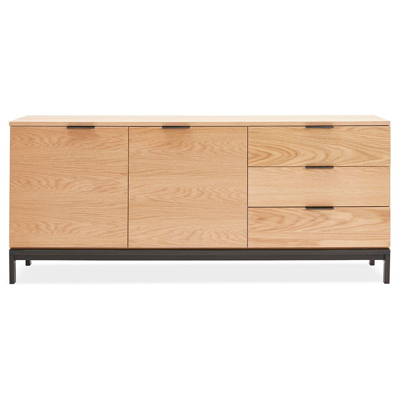 Buffet design row 2 doors 3 drawers AGATHE in wood (oak, natural) - image 40014