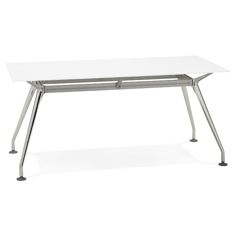 Riunione di scrivania tavolo moderno (80 x 160 cm) AMÉLIE in vetro (bianco) - image 40046