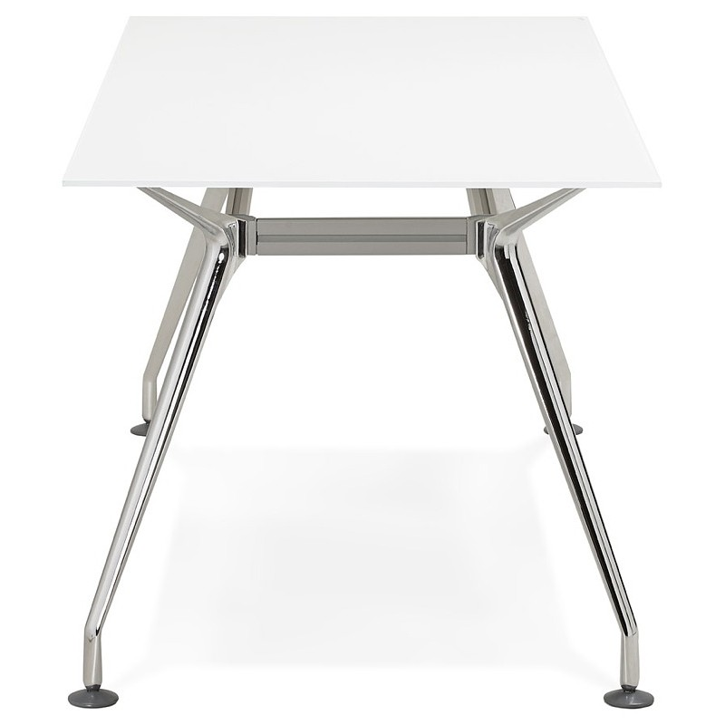 Riunione di scrivania tavolo moderno (80 x 160 cm) AMÉLIE in vetro (bianco) - image 40048