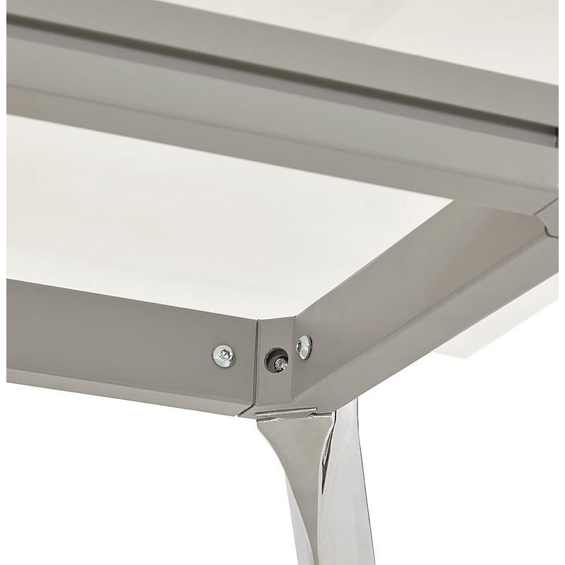 Riunione di scrivania tavolo moderno (80 x 160 cm) AMÉLIE in vetro (bianco) - image 40052