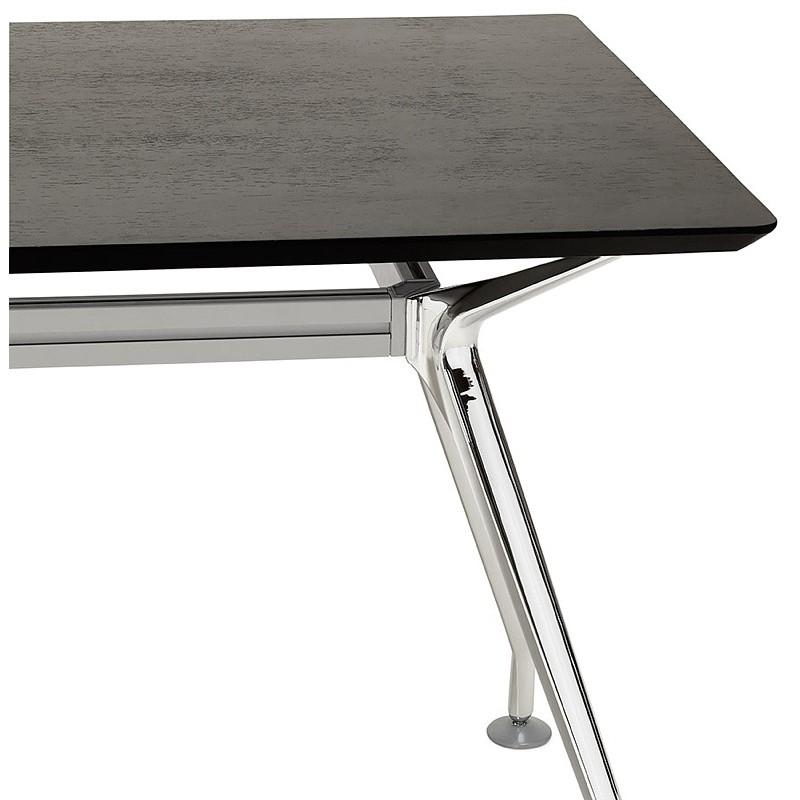 Bureau table de réunion moderne (70x150 cm) NOEMIE en bois plaqué frêne (noir) - image 40068