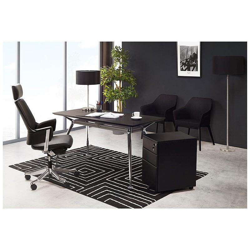 Bureau table de réunion moderne (70x150 cm) NOEMIE en bois plaqué frêne (noir) - image 40075