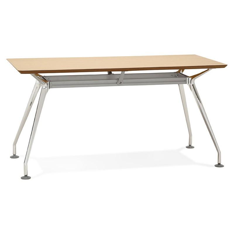 Bureau table de réunion moderne (70x150 cm) NOEMIE en bois plaqué chêne (naturel) - image 40076