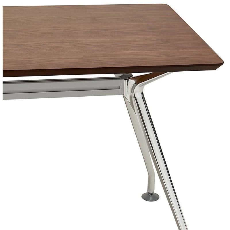 Bureau table de réunion moderne (70x150 cm) NOEMIE en bois plaqué noyer (noyer) - image 40091