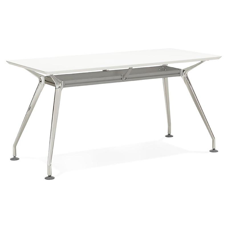 Bureau table de réunion moderne (70x150 cm) NOEMIE en bois (blanc mat) - image 40101