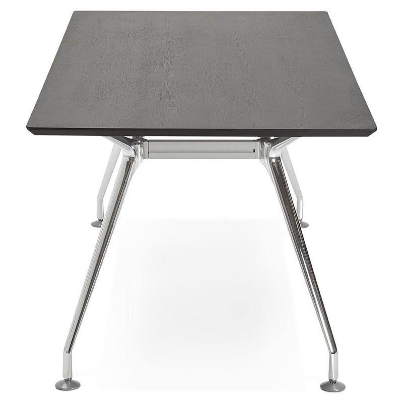 table de 180 ... Desk table modern meeting (90 x 180 cm) LAMA plated wooden ash (black  ...