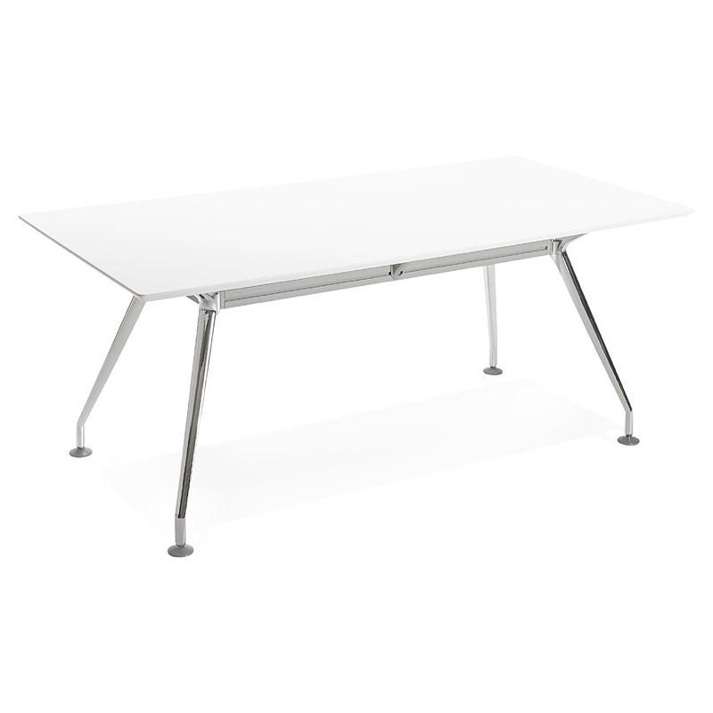 Bureau table de réunion moderne (90x180 cm) LAMA en bois (blanc mat) - image 40141