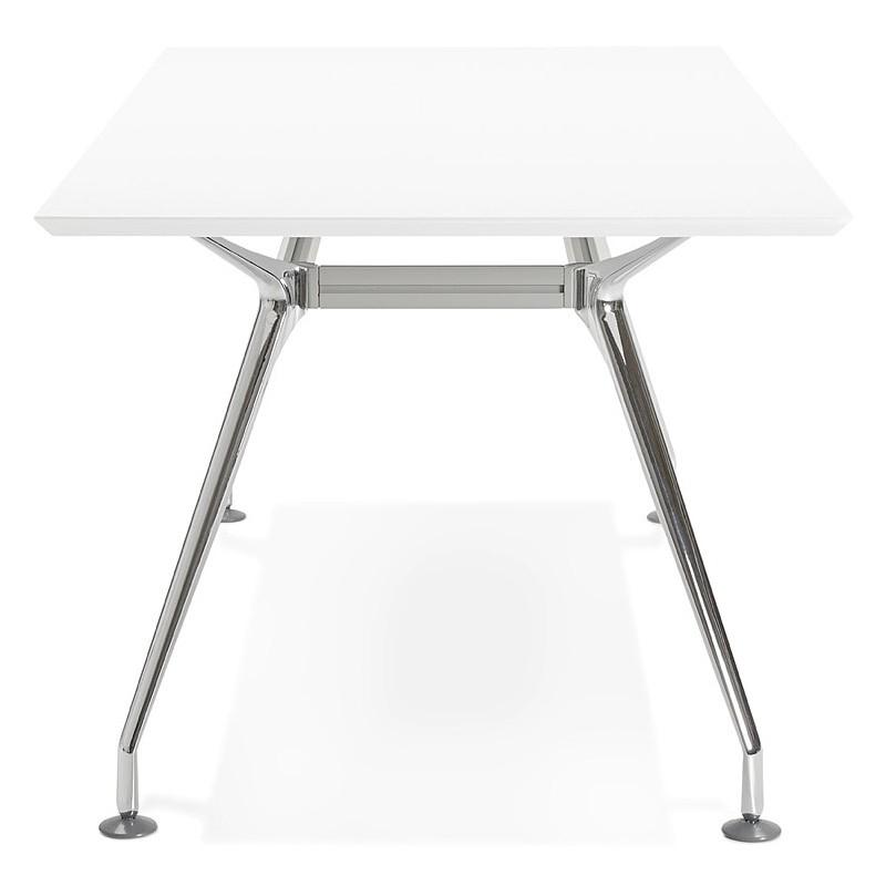 Bureau table de réunion moderne (90x180 cm) LAMA en bois (blanc mat) - image 40144