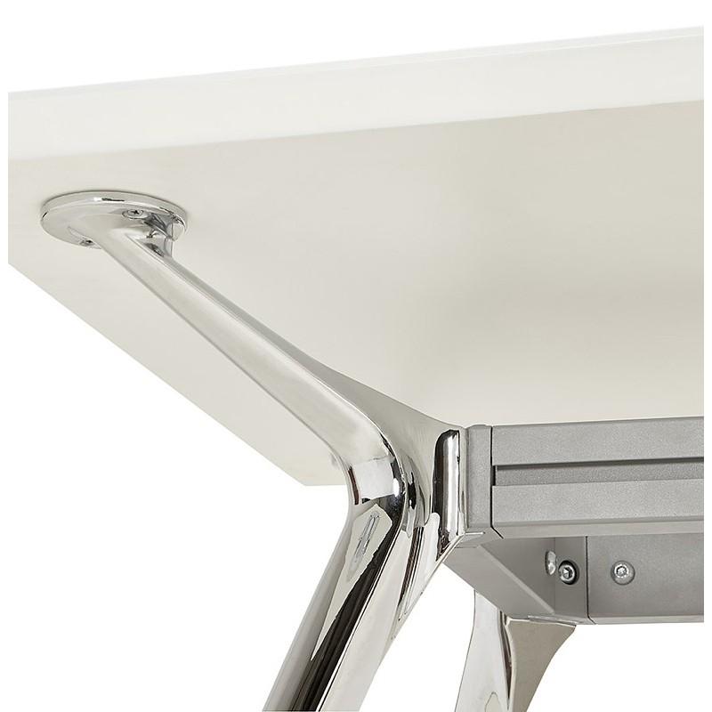 Bureau table de réunion moderne (90x180 cm) LAMA en bois (blanc mat) - image 40149