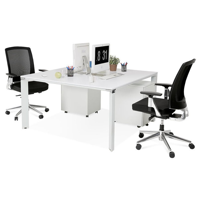 Bureau table de réunion moderne (140x140 cm) RICARDO en bois (blanc) - image 40199