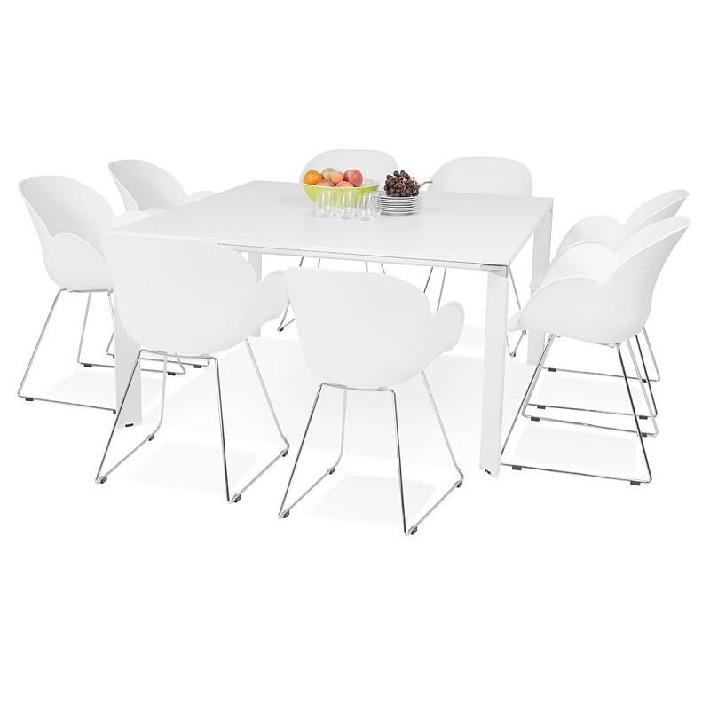 Bureau table de réunion moderne (140x140 cm) RICARDO en bois (blanc) - image 40200