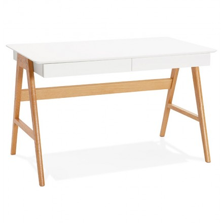 Right Scandinavian ELOISE wooden desk (Matt White)