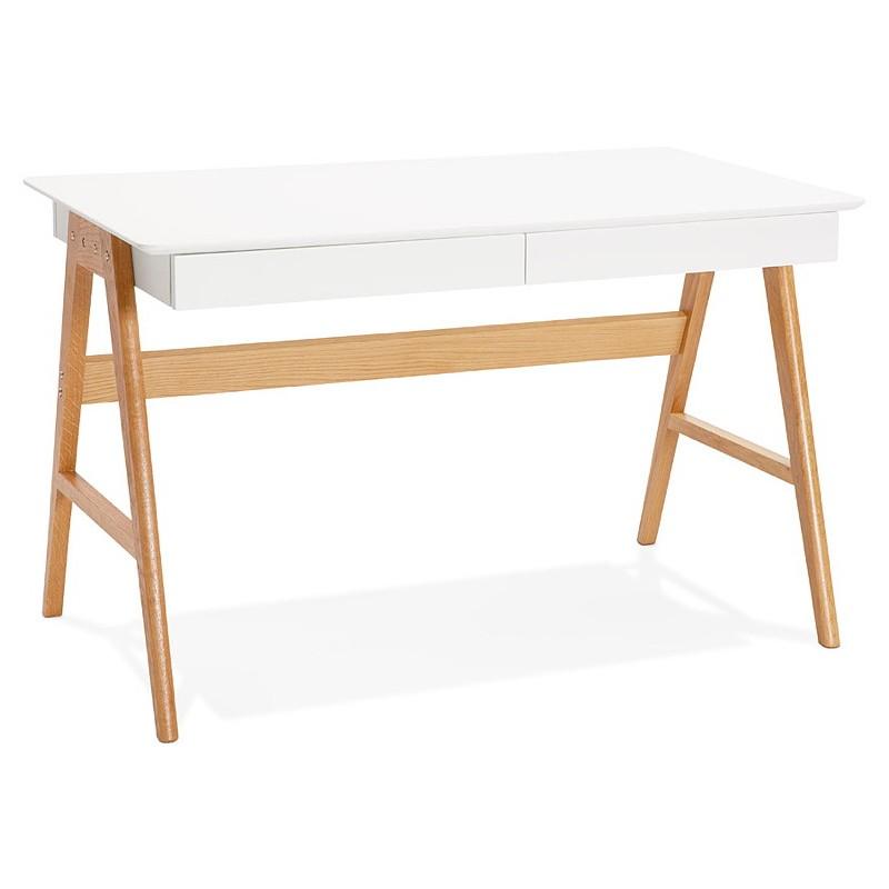 Bureau droit scandinave ELOISE en bois (blanc mat) - image 40216