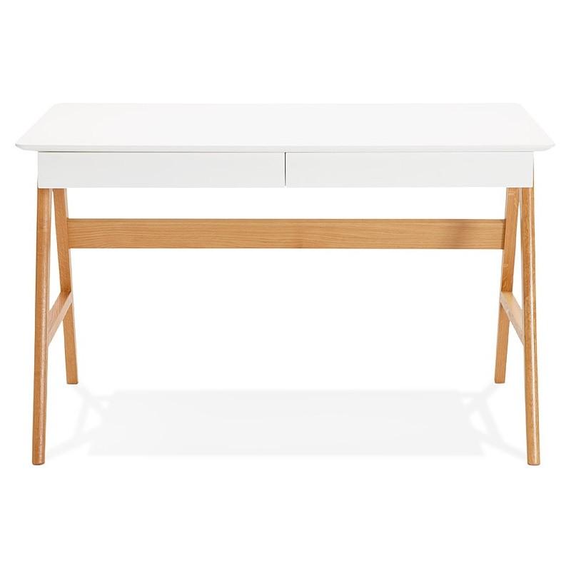 Bureau droit scandinave ELOISE en bois (blanc mat) - image 40218