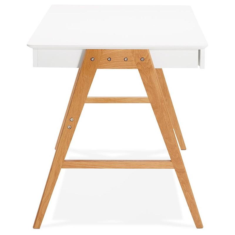 Bureau droit scandinave ELOISE en bois (blanc mat) - image 40219