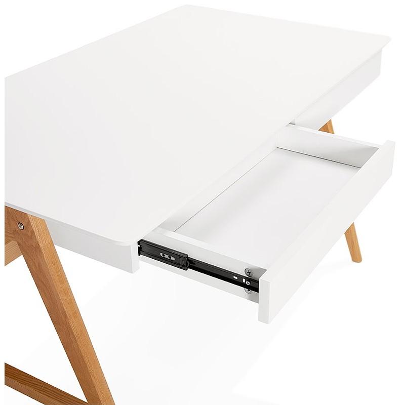 Bureau droit scandinave ELOISE en bois (blanc mat) - image 40221
