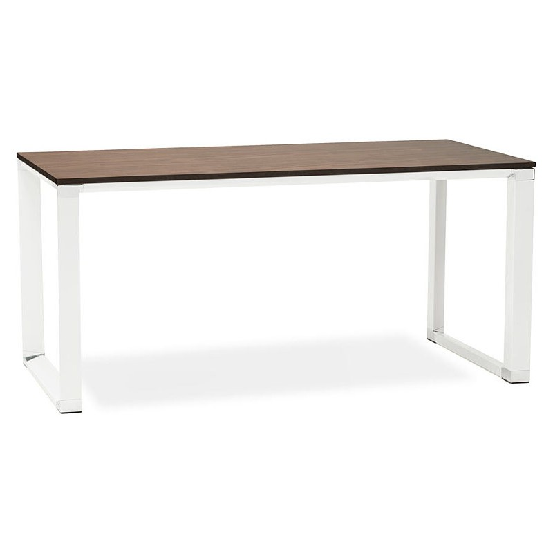 Bureau droit design BOUNY en bois pieds blanc (160 X 80 cm) (noyer) - image 40237