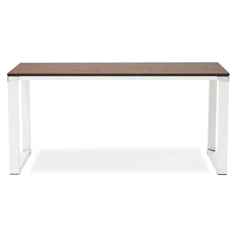 Bureau droit design BOUNY en bois pieds blanc (160 X 80 cm) (noyer) - image 40238