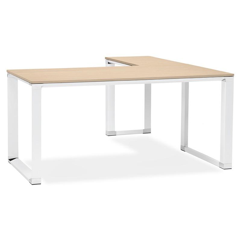 bureau d 39 angle design corporate en bois pieds blanc naturel. Black Bedroom Furniture Sets. Home Design Ideas