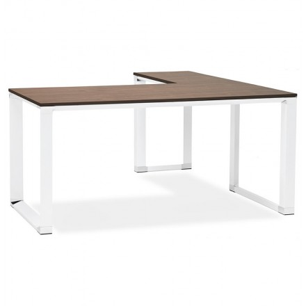 Bureau d\'angle design CORPORATE en bois pieds blanc (finition noyer)
