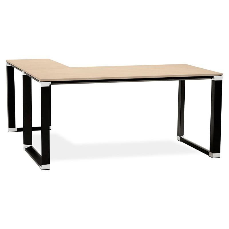 Bureau d'angle design CORPORATE en bois pieds noirs (naturel) - image 40267