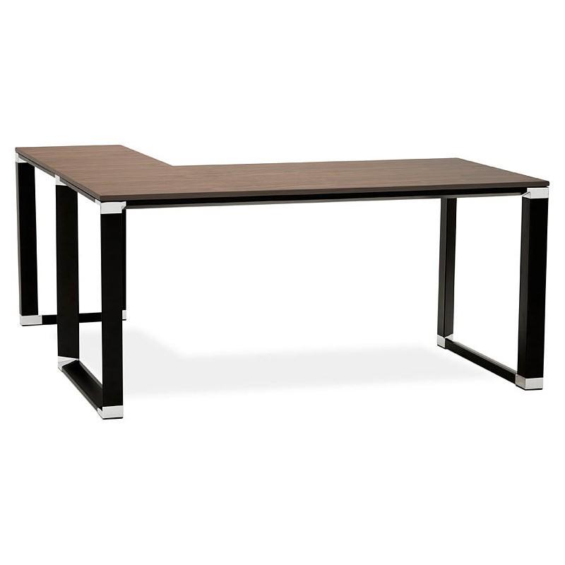 Bureau d'angle design CORPORATE en bois pieds noirs (finition noyer) - image 40273
