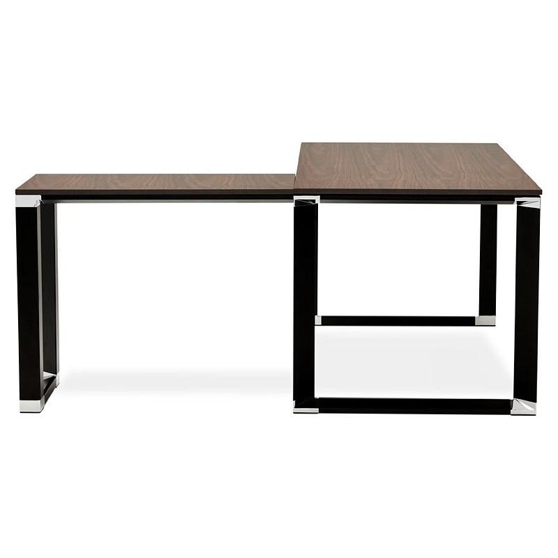 Bureau d'angle design CORPORATE en bois pieds noirs (finition noyer) - image 40274