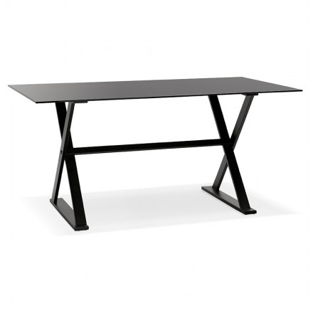Table design or (160 x 80 cm) WENDY glass desk (black)