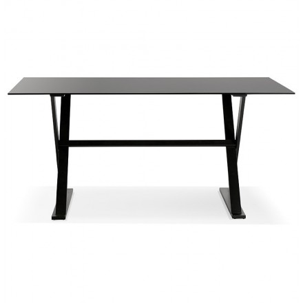 Table à manger design ou bureau (160x80 cm) WENDY en verre (noir ...