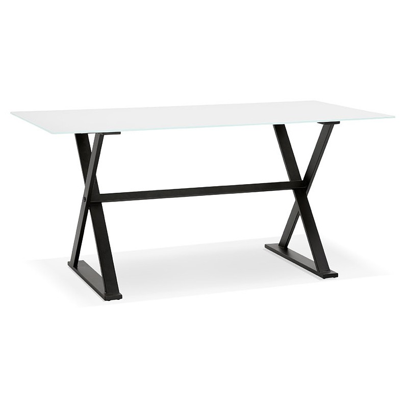 Table à manger design ou bureau (160x80 cm) WENDY en verre (blanc)
