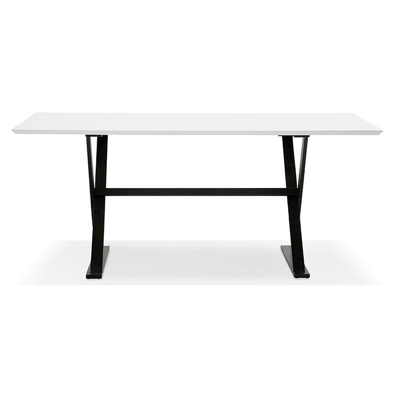 Table à manger design ou bureau (180x90 cm) FOSTINE en bois (blanc mat) - image 40307