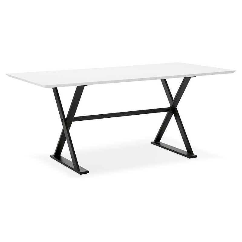 Table à manger design ou bureau (180x90 cm) FOSTINE en bois (blanc mat) - image 40309