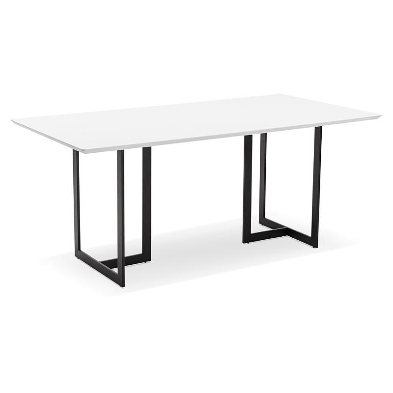 Table à manger design ou bureau (180x90 cm) DRISS en bois (blanc mat)
