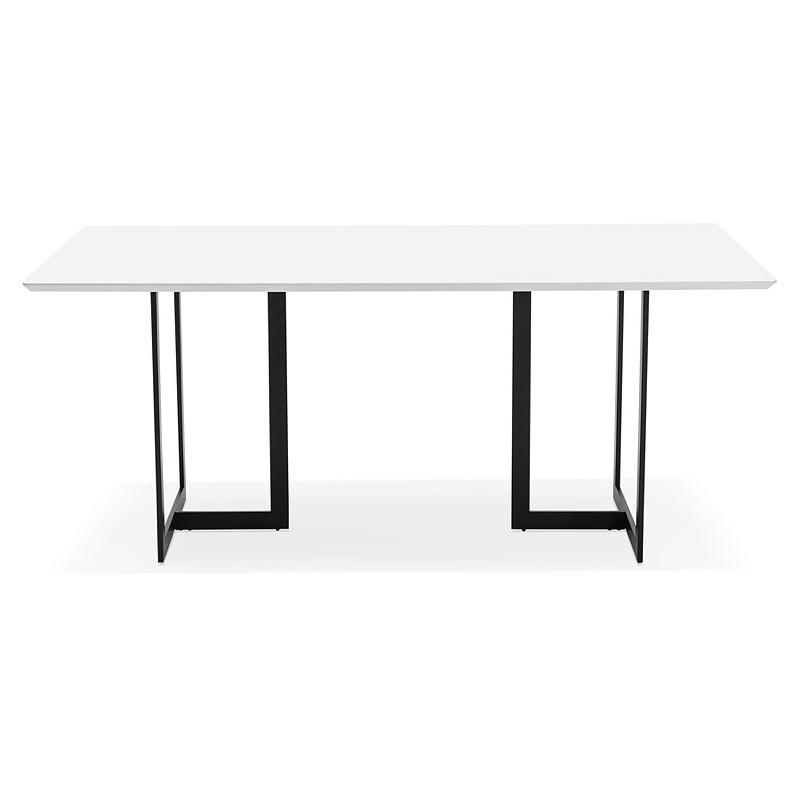 Table à manger design ou bureau (180x90 cm) DRISS en bois (blanc mat) - image 40406