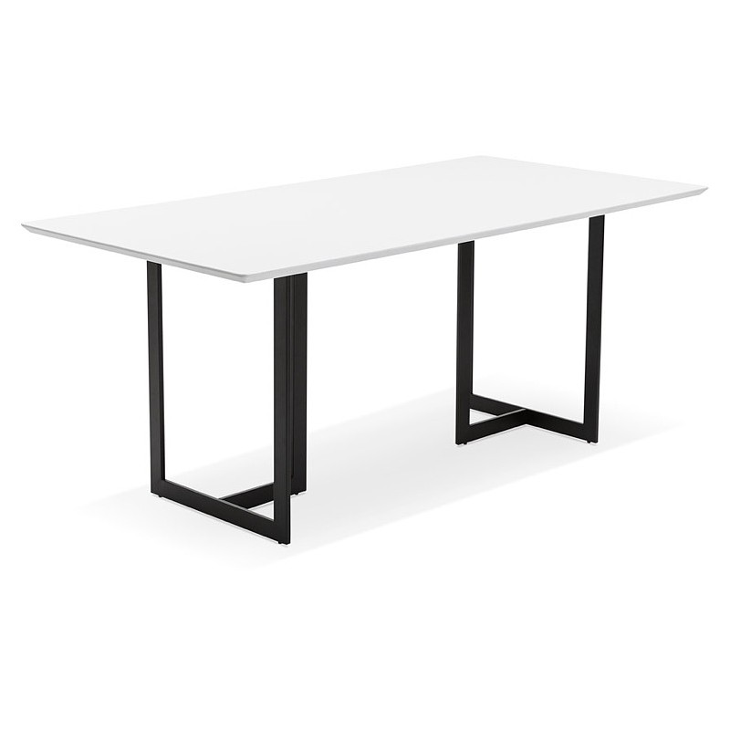 table manger design ou bureau 180x90 cm driss en bois blanc mat. Black Bedroom Furniture Sets. Home Design Ideas