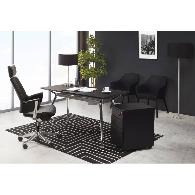 Subwoofer design desk 3 drawers MATHIAS (black) metal - image 40429