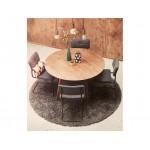 Tavolo da pranzo d'epoca stile scandinavo SOFIA (Ø 120 cm) rotondo in legno (noce)