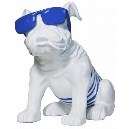 Statuette sculpture décorative design CHIEN ASSIS en résine H35 (blanc, bleu)