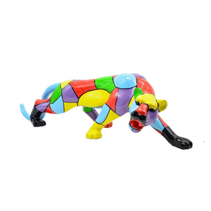 Statue sculpture décorative design PANTHERE en résine H27 cm (Multicolore) - image 40934