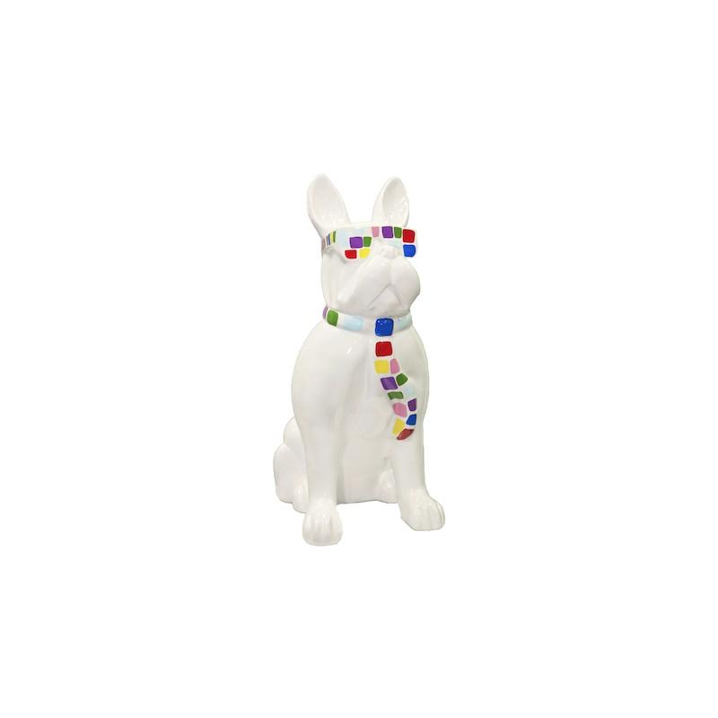 Statue sculpture decorative design dog to tie colored resin H98 cm (white)