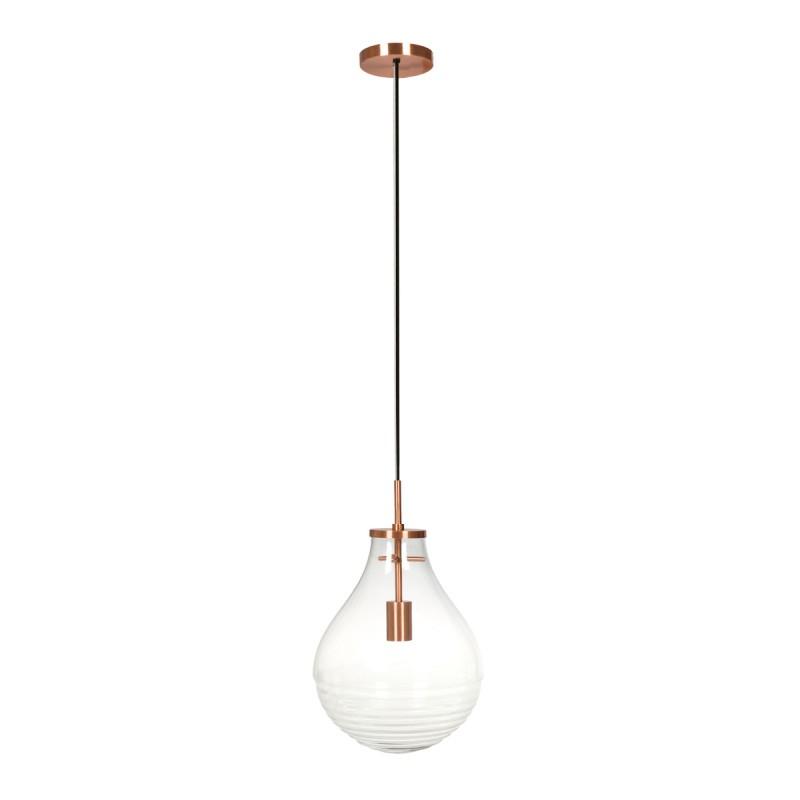 Lampe suspendue industriel small H 38 cm Ø 29 cm MASSY (Transparent, cuivre) - image 40981