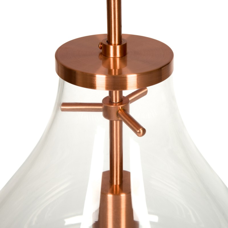 Lampe suspendue industriel small H 38 cm Ø 29 cm MASSY (Transparent, cuivre) - image 40983