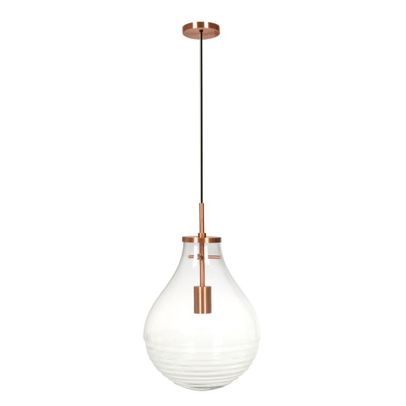 Lampe suspendue industriel large H 50 cm Ø 37,7 cm MASSY (Transparent, cuivre) - image 40984