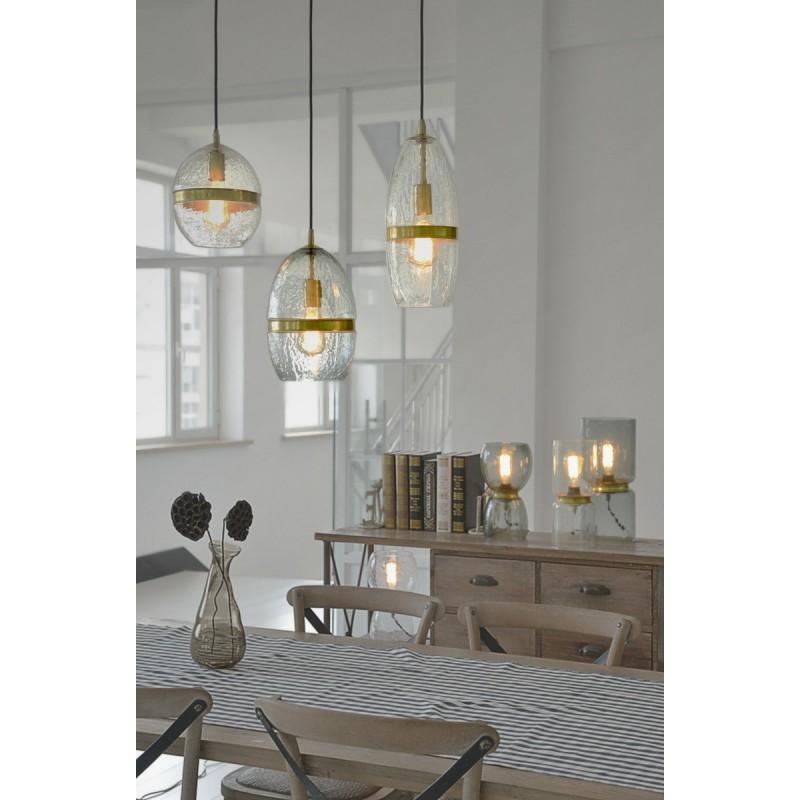 Lampe suspendue industriel large H 50 cm Ø 37,7 cm MASSY (Transparent, cuivre) - image 40985