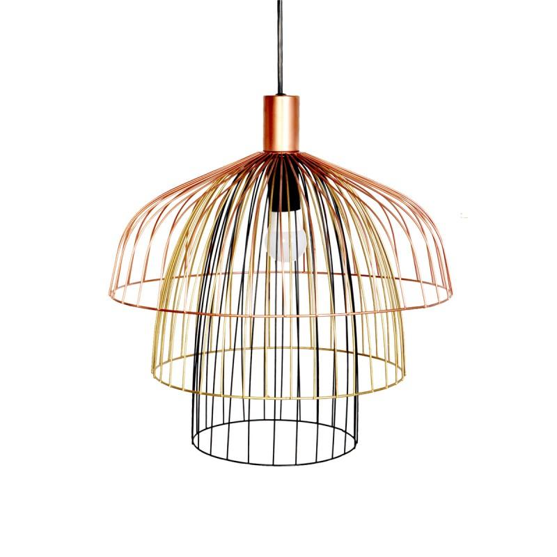 Lampe à suspension rétro H 37 cm Ø 40 cm TARA (multicolore)