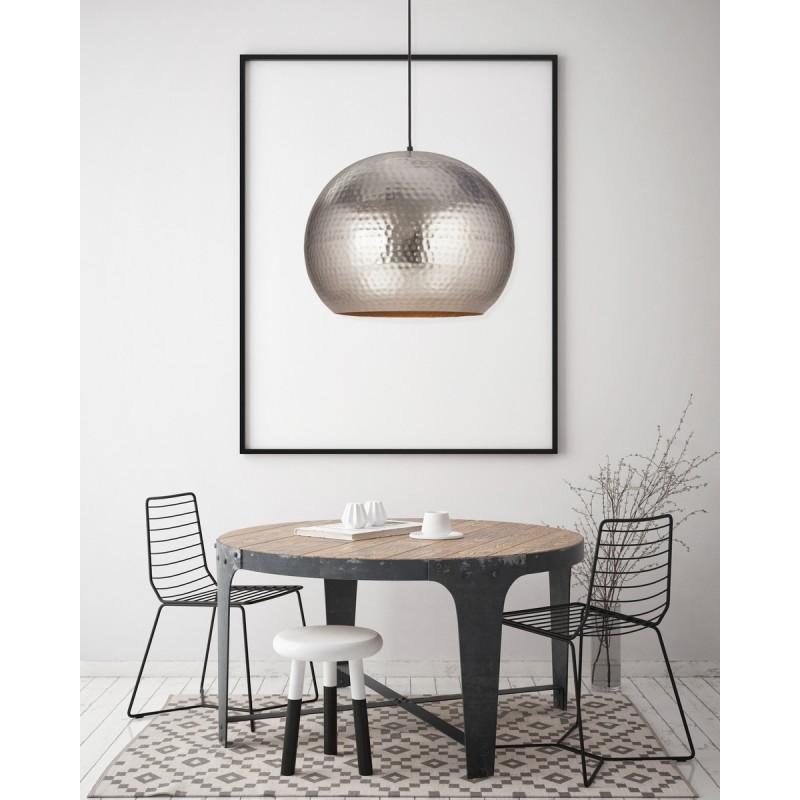 Lampe suspendue factory industriel en métal H 52 cm Ø 47 cm SAVANNAH (argent) - image 41012