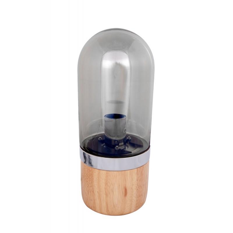 Lámpara de mesa diseño cristal Bell H 33 cm Ø 14 cm BRENDA (madera natural, gris)